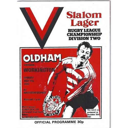 1981/82 Oldham v Workington Town Rugby League Programme