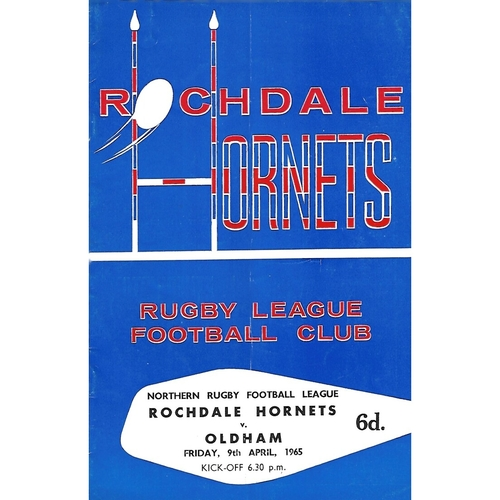 1964/65 Rochdale Hornets v Oldham Rugby League Programme