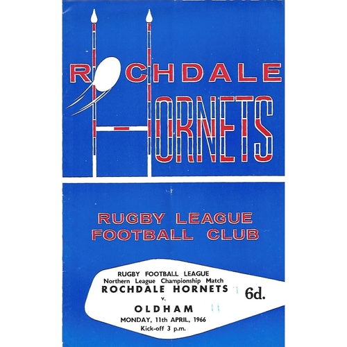 1965/66 Rochdale Hornets v Oldham Rugby League Programme
