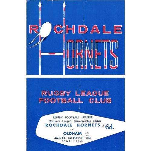 1967/68 Rochdale Hornets v Oldham Rugby League Programme