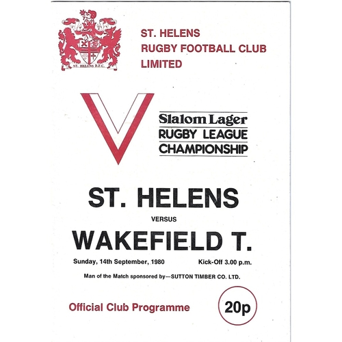 1980/81 St. Helens v Wakefield Trinity Rugby League Programme