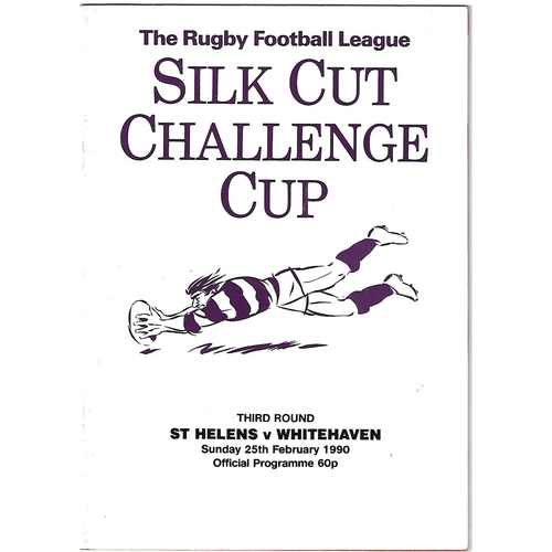 1989/90 St. Helens v Whitehaven Rugby League Challenge Cup 3rd Round Programme