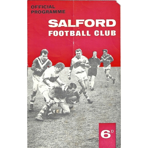 1965/66 Salford v Oldham Rugby League Programme