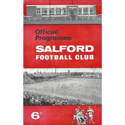 1967/68 Salford v Wigan Rugby League Programme
