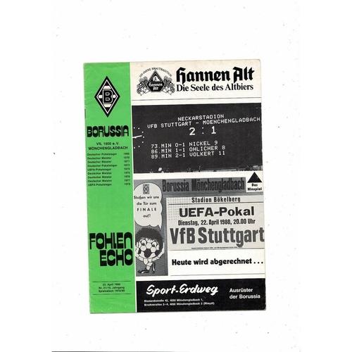 1980 Borussia Monchengladbach v Stuttgart UEFA Fairs Cup Semi Final Football Programme