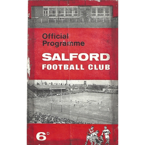 1968 Salford v Oldham Lancashire Challenge Cup Semi Final Rugby League Programme