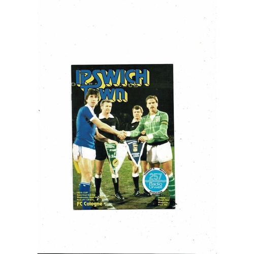 1981 Ipswich Town v Cologne UEFA Fairs Cup Semi Final Football Programme