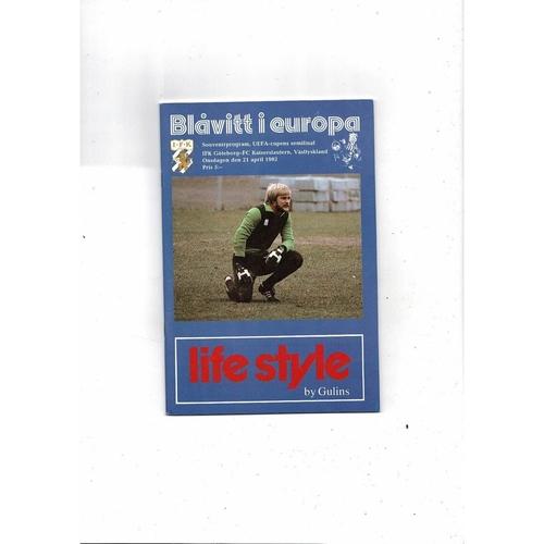 1982 Goteborg v Kaiserslautern UEFA Fairs Cup Semi Final Football Programme
