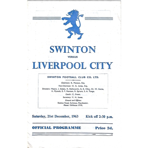 1963/64 Swinton v Liverpool City Rugby League Programme
