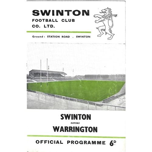1965/66 Swinton v Warrington Rugby League Programme