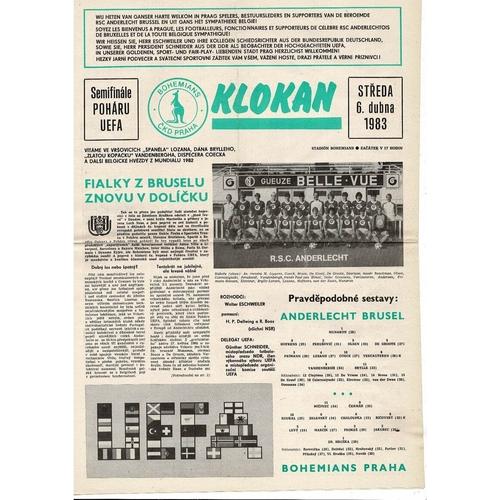 1983 Bohemians Praha v Anderlecht UEFA Fairs Cup Semi Final Football Programme