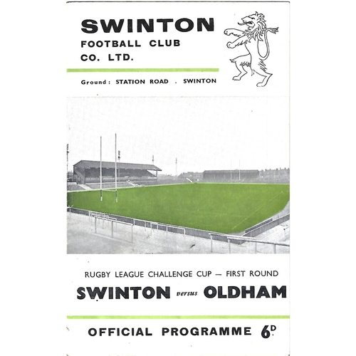 1965/66 Swinton v Oldham Rugby League Challenge Cup 1st Round Programme