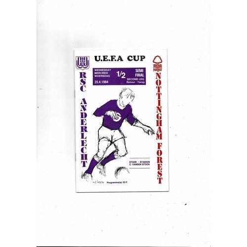 1984  Anderlecht v Nottingham Forest UEFA Fairs Cup Semi Final Football Programme