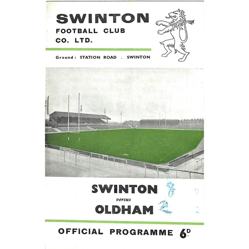 1965/66 Swinton v Oldham Rugby League Programme
