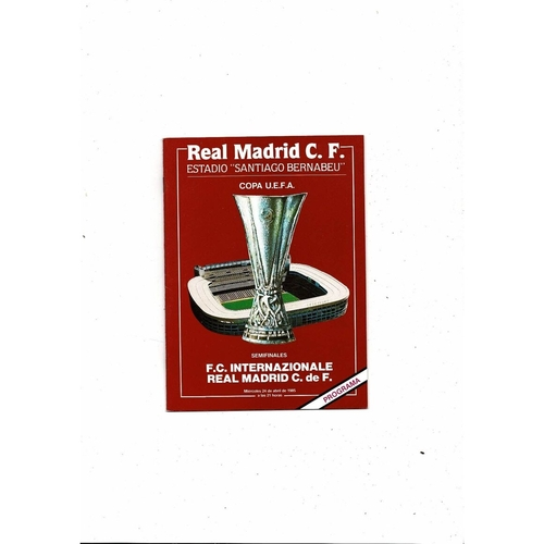 1985 Real Madrid v Inter Milan UEFA Fairs Cup Semi Final Football Programme
