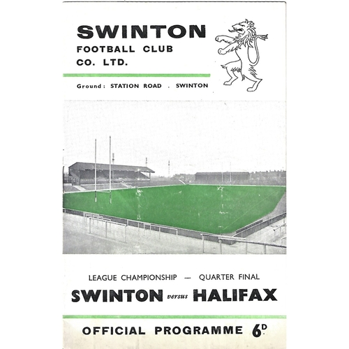 1965/66 Swinton v Halifax League Championship Quarter Final Rugby League Programme