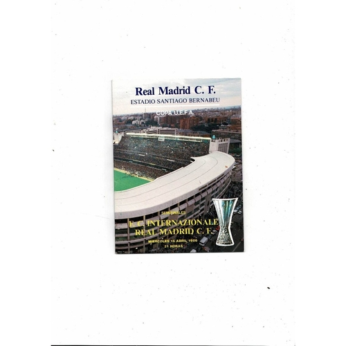 1986 Real Madrid v Inter Milan UEFA Fairs Cup Semi Final Football Programme