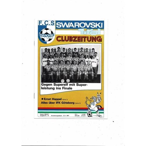 1987 Swarovski v Goteborg UEFA Fairs Cup Semi Final Football Programme