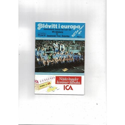 1987 Goteborg v Swarovski UEFA Fairs Cup Semi Final Football Programme
