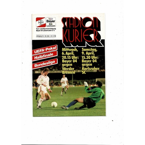 1988 Leverkusen v Werder Bremen UEFA Fairs Cup Semi Final Football Programme
