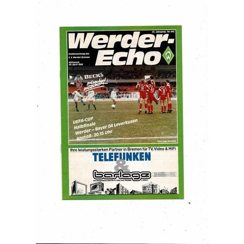 1988 Werder Bremen v Leverkusen UEFA Fairs Cup Semi Final Football Programme