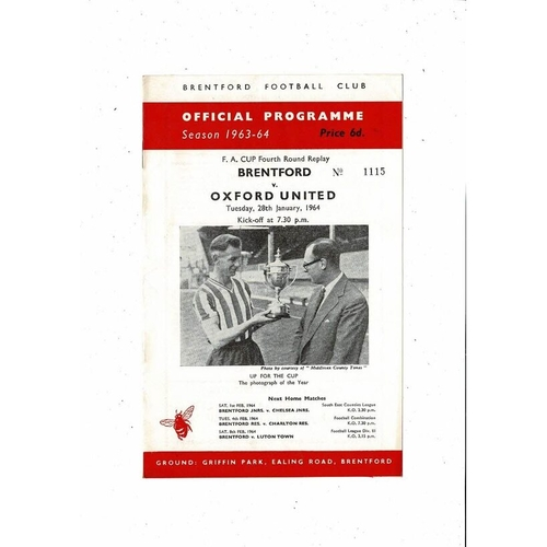 1963/64 Brentford v Oxford United FA Cup Replay Football Programme
