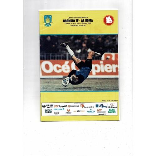1991 Brondby v Roma UEFA Fairs Cup Semi Final Football Programme