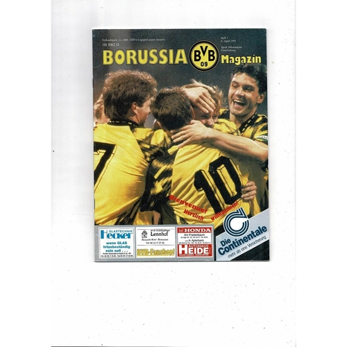 1993 Borussia Dortmund v Auxerre UEFA Fairs Cup Semi Final Football Programme