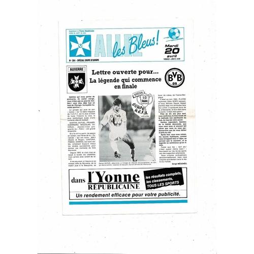 1993 Auxerre v Borussia Dortmund UEFA Fairs Cup Semi Final Football Programme