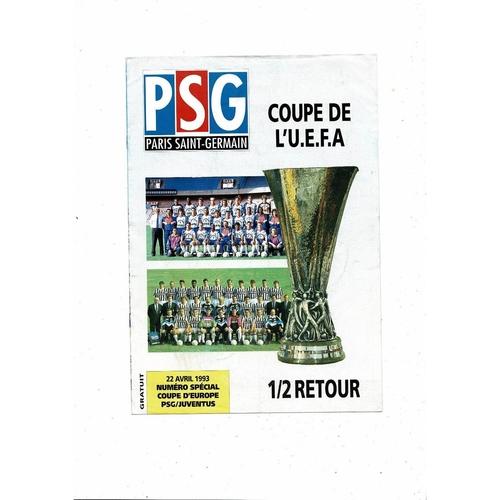 1993 Paris St Germain v Juventus UEFA Fairs Cup Semi Final Football Programme