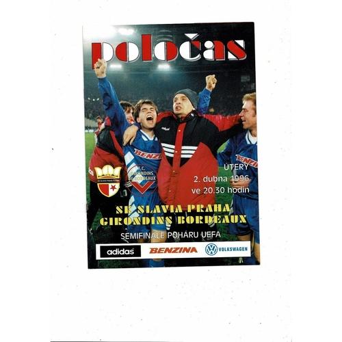 1996 Slavia Prague v Bordeaux UEFA Fairs Cup Semi Final Football Programme