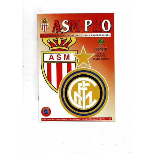 1997 Monaco v Inter Milan UEFA Fairs Cup Semi Final Football Programme