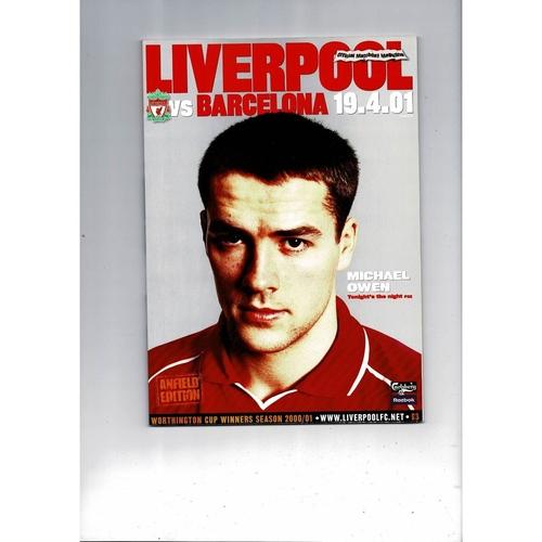 2001 Liverpool v Barcelona UEFA Fairs Cup Semi Final Football Programme