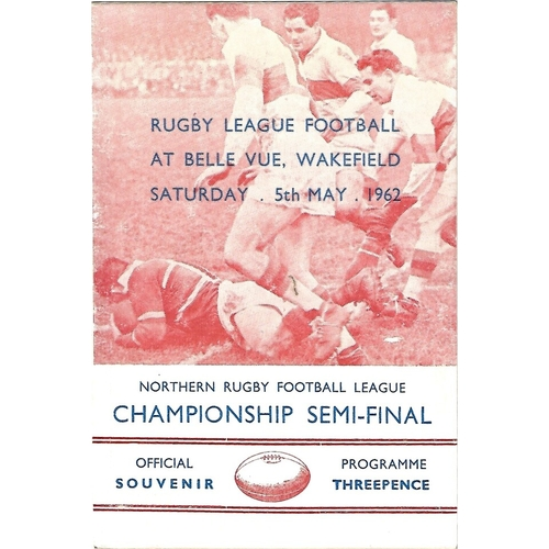 1961/62 Wakefield Trinity v Featherstone Rovers Northern Rugby Football League Championship Semi Final Rugby League Programme