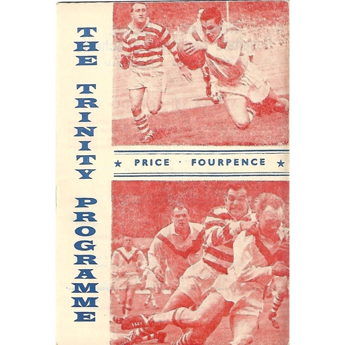 1963/64 Wakefield Trinity v Australia Tour Match Rugby League Programme