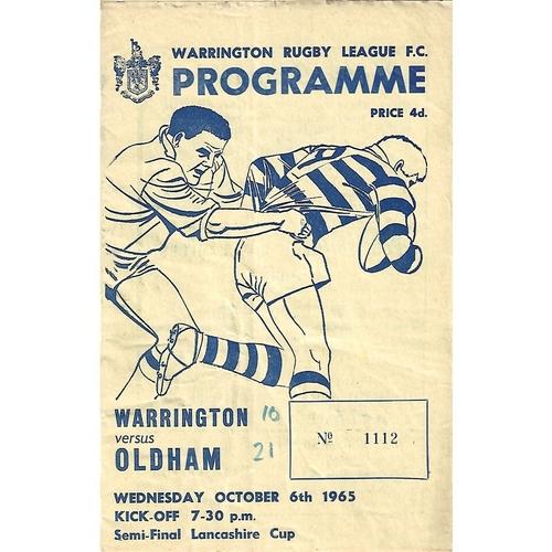 1965/66 Warrington v Oldham Lancashire Cup Semi Final Rugby League Programme