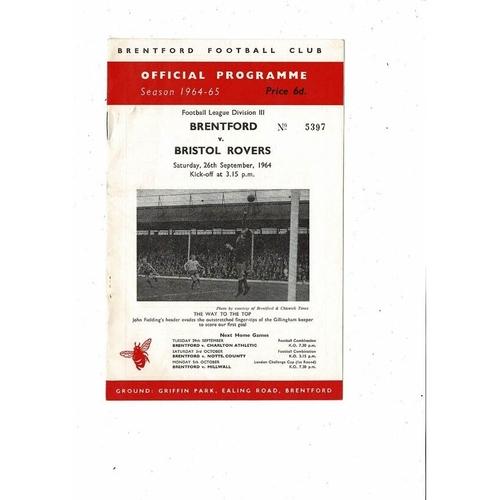 1964/65 Brentford v Bristol Rovers Football Programme