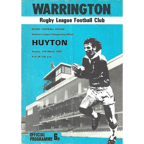 1972/73 Warrington v Huyton Rugby League Programme