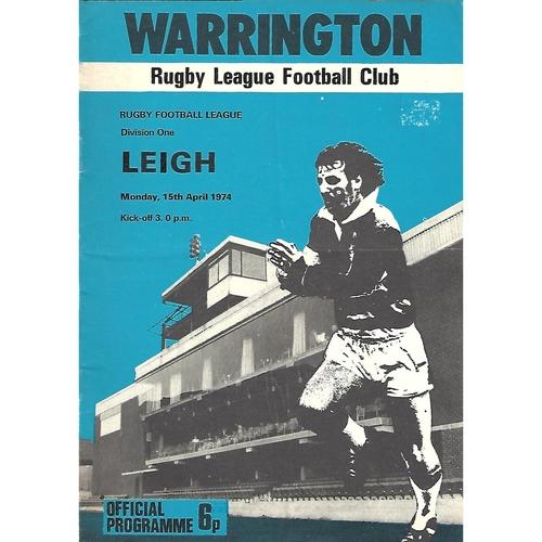 1973/74 Warrington v Leigh Rugby League Programme