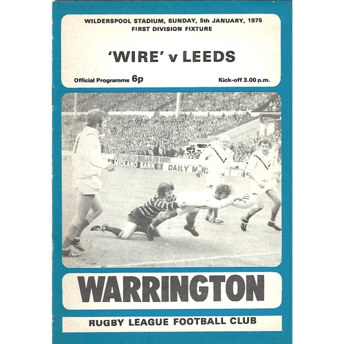 1974/75 Warrington v Leeds Rugby League Programme