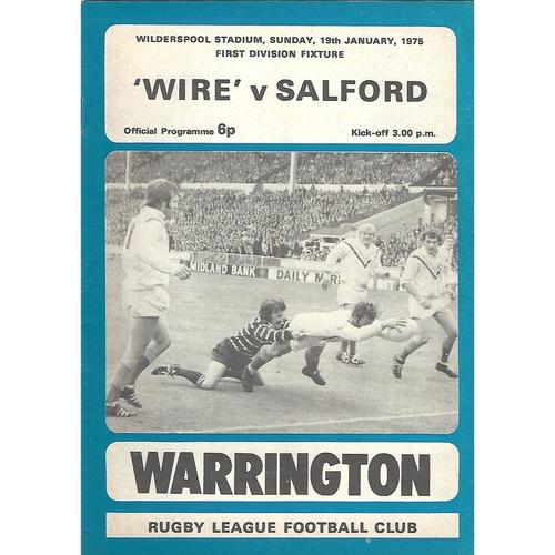 1974/75 Warrington v Salford Rugby League Programme