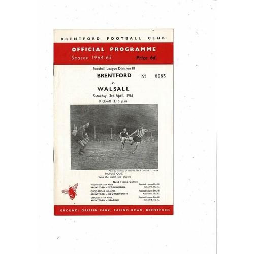 1964/65 Brentford v Walsall Football Programme