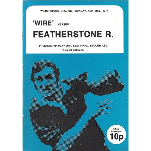 1976/77 Warrington v Featherstone Rovers Premiership Play Off Semi Final 2nd Leg Rugby League Programme