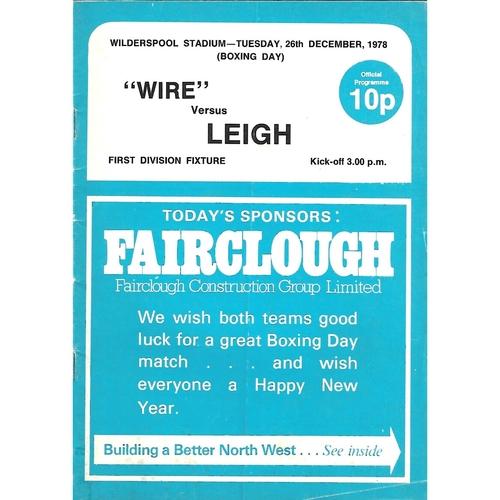 1978/79 Warrington v Leigh Rugby League Programme
