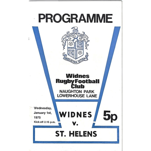1974/1975 Widnes v St. Helens Rugby League Programme