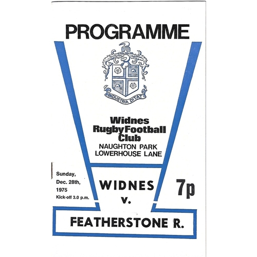 1975/76 Widnes v Featherstone Rovers Rugby League Programme