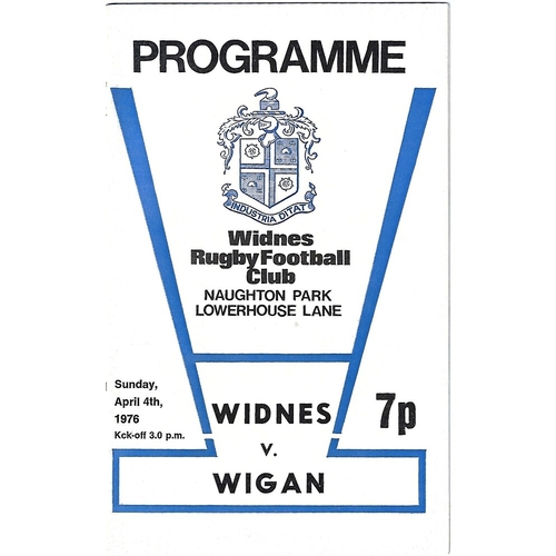 1975/76 Widnes v Wigan Rugby League Programme
