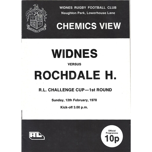 1977/78 Widnes v Rochdale Hornets Rugby League Challenge Cup 1st Round Programme