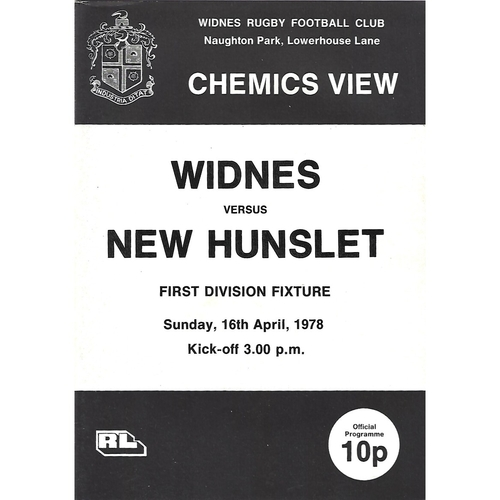 1977/78 Widnes v New Hunslet Rugby League Programme
