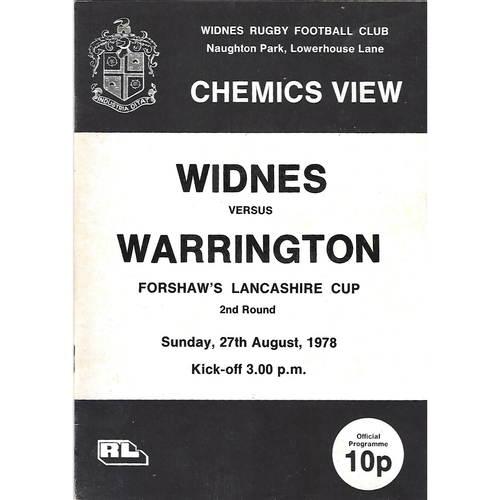 1978/79 Widnes v Warrington Lancashire Cup 2nd Round Rugby League Programme